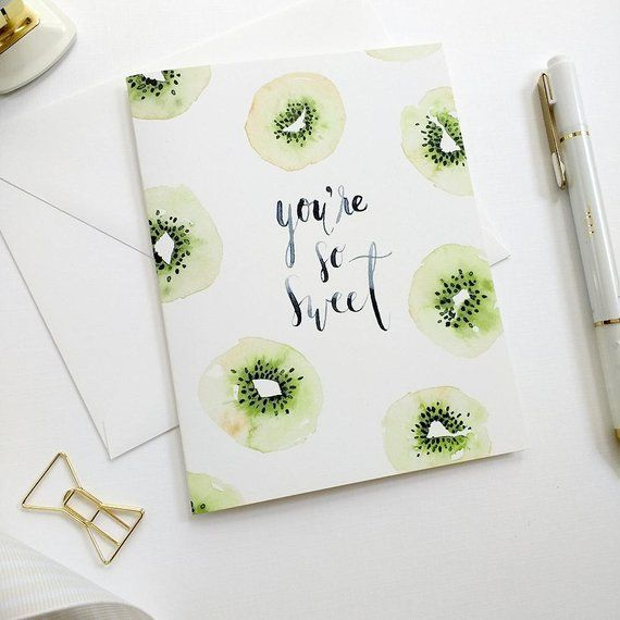 Watercolor Thank You Card, Watercolor Greeting Card, You're So Sweet Card, Hand-Painted Cards, Kiwi Notecards, Watercolor Notecards