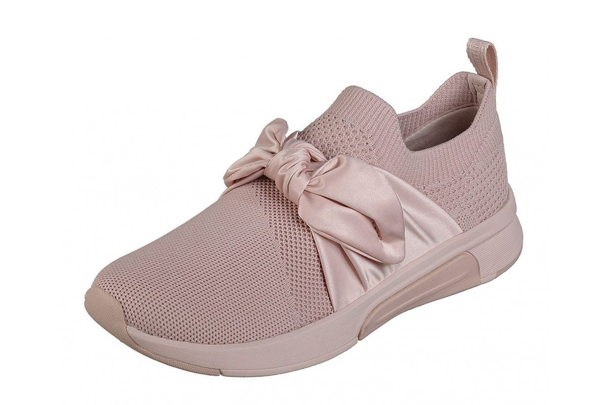 Skechers Modern Jogger Debbie Pink Slip On Bow Trainers in