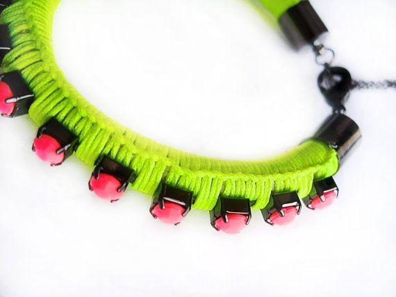 #blackmarketjewels #neon #pink #green #gunmetal #woven #bracelet #etsy £15