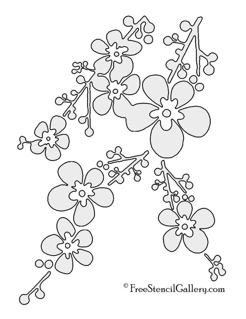 Cherry Blossom Svg : cherry, blossom, Cherry, Blossom, Stencil, Gallery, Flower, Drawing,, Blossom,, Stencils