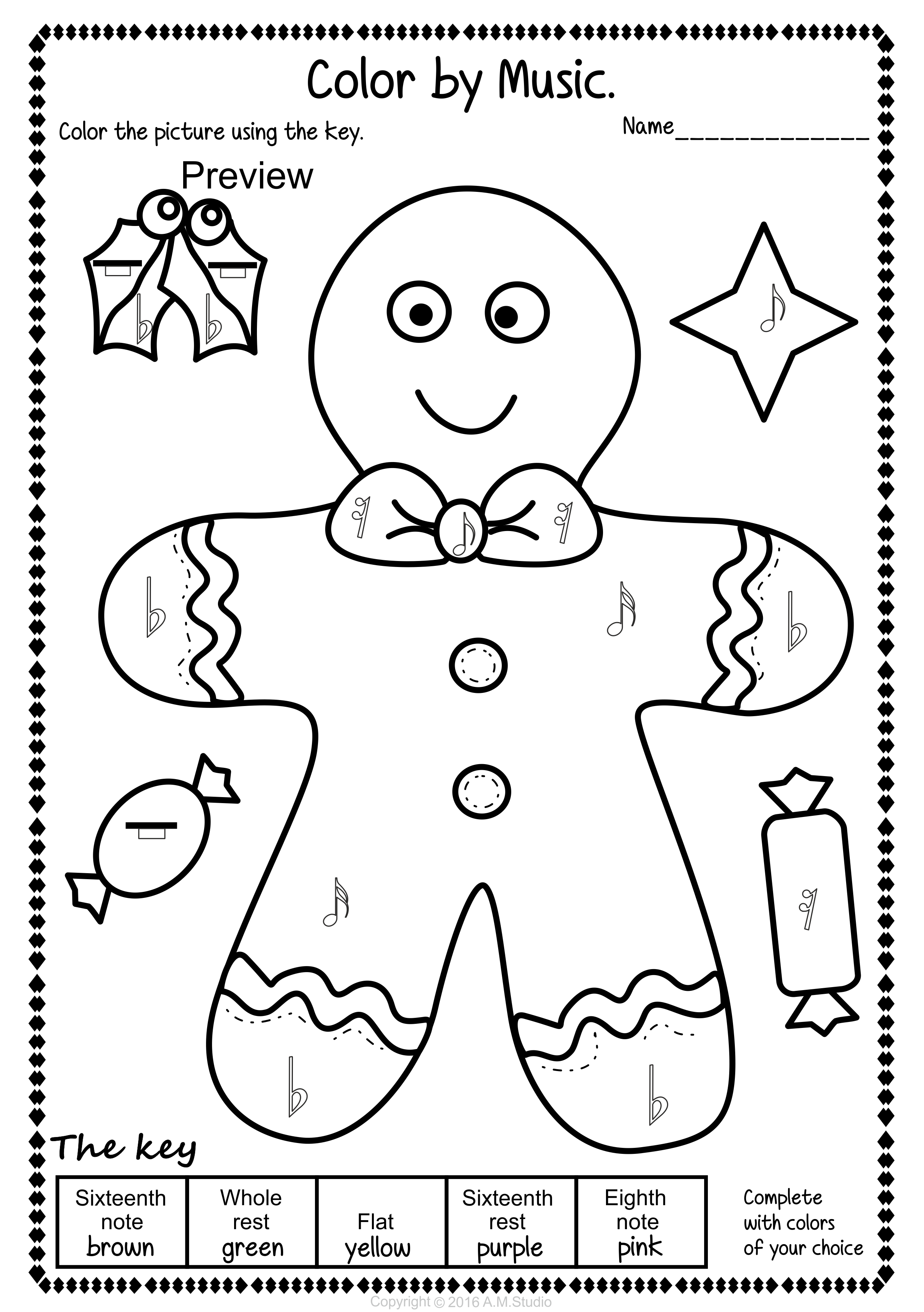 Simple And Fun Christmas Music Coloring Activity For Kids