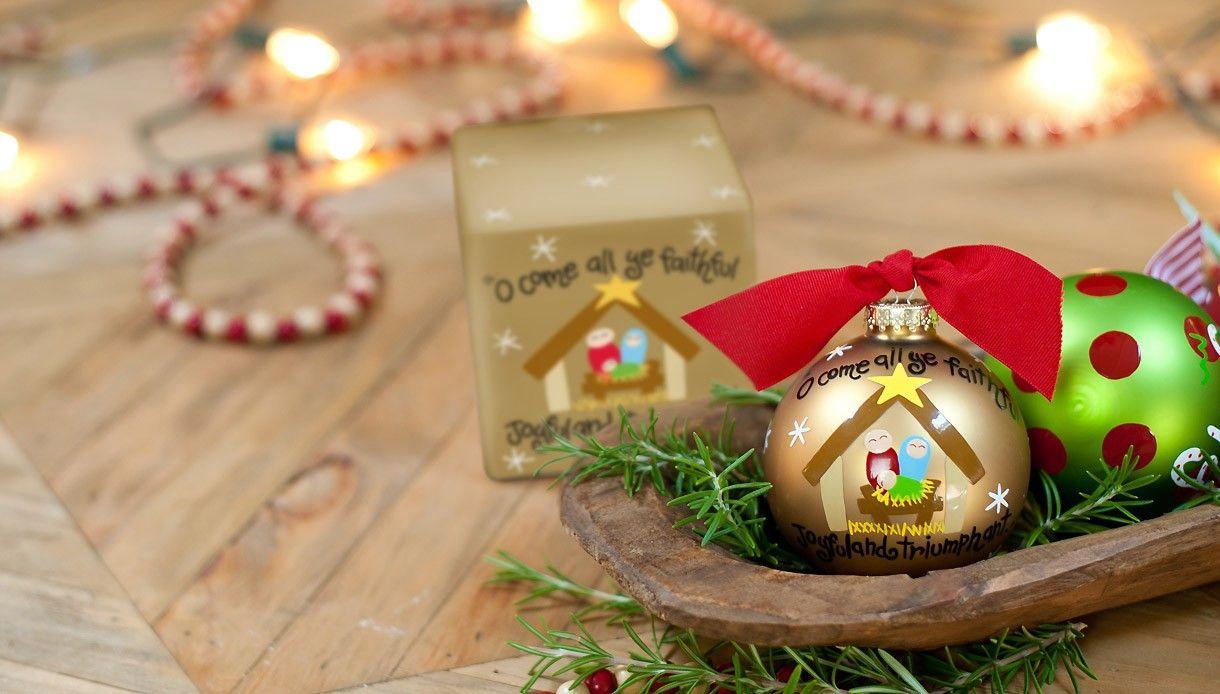 Religious Christmas Music.O Come All Ye Faithful Glass Ornament Christmas