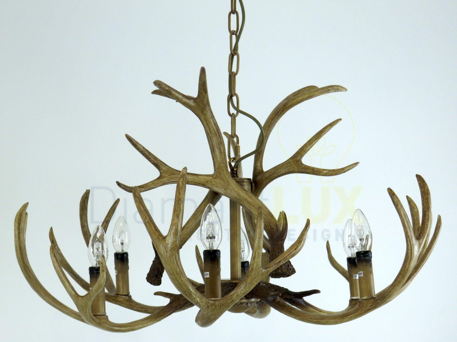 Lampadario Rustico Ceramica : Taiga s diamantlux lampadario rustico con corna di cervo corna