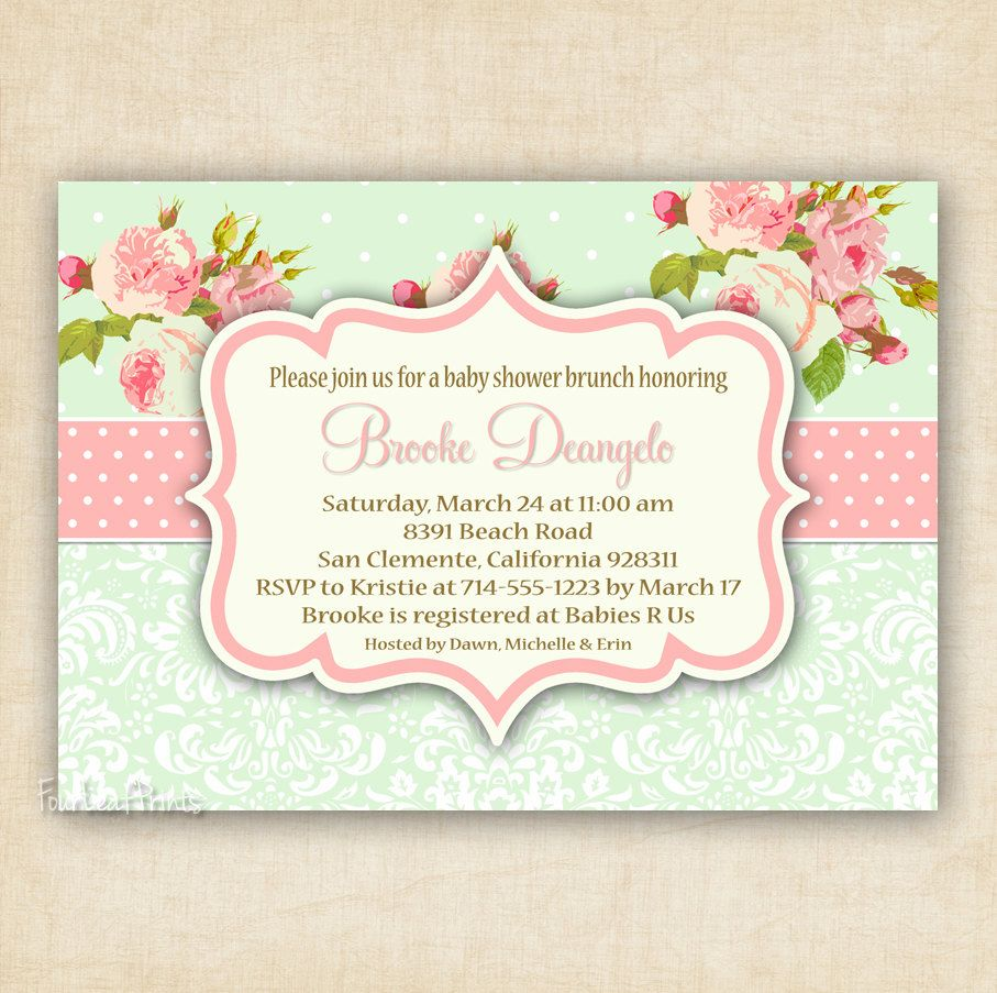 Green and Pink Shabby Chic Floral and Damask - Baby Shower ...
