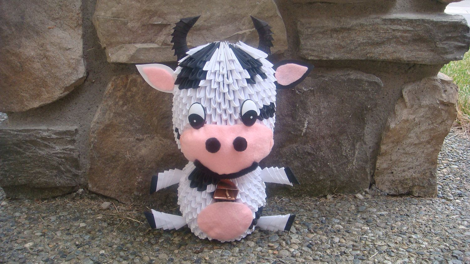 3d origami cow by wonderfold on etsy 3d origami
