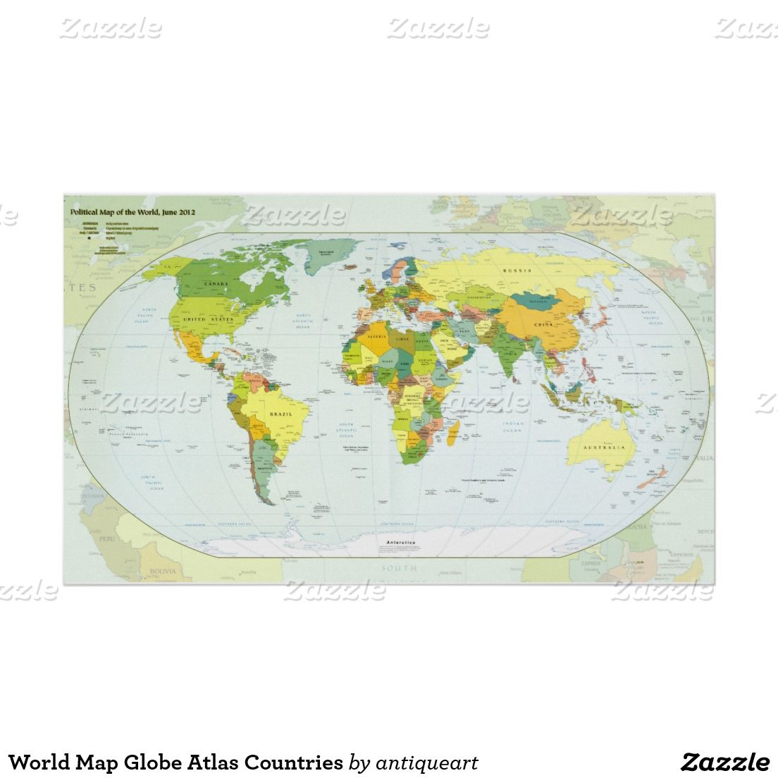World Map Globe Atlas Countries Poster