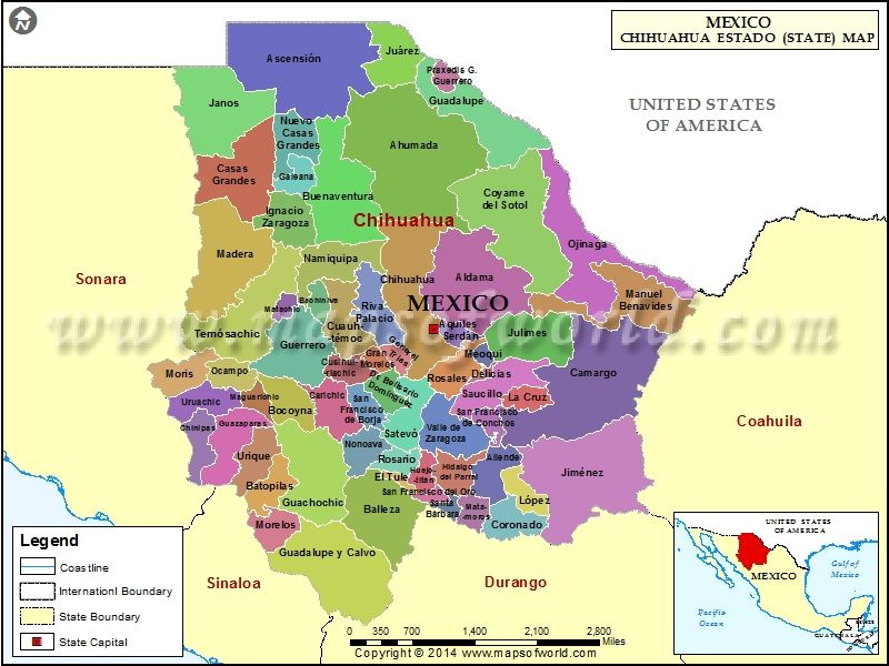 Download Chihuahua map showing the administrative divisions of the