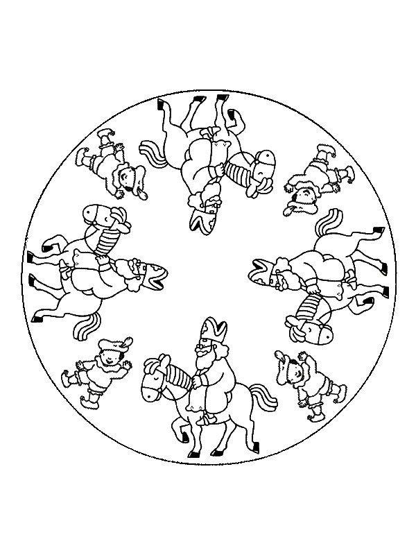 Kleurplaten Sinterklaas Op Zijn Paard.Mandala Sinterklaas Op Zijn Paard Amerigo Saint Nicholas St