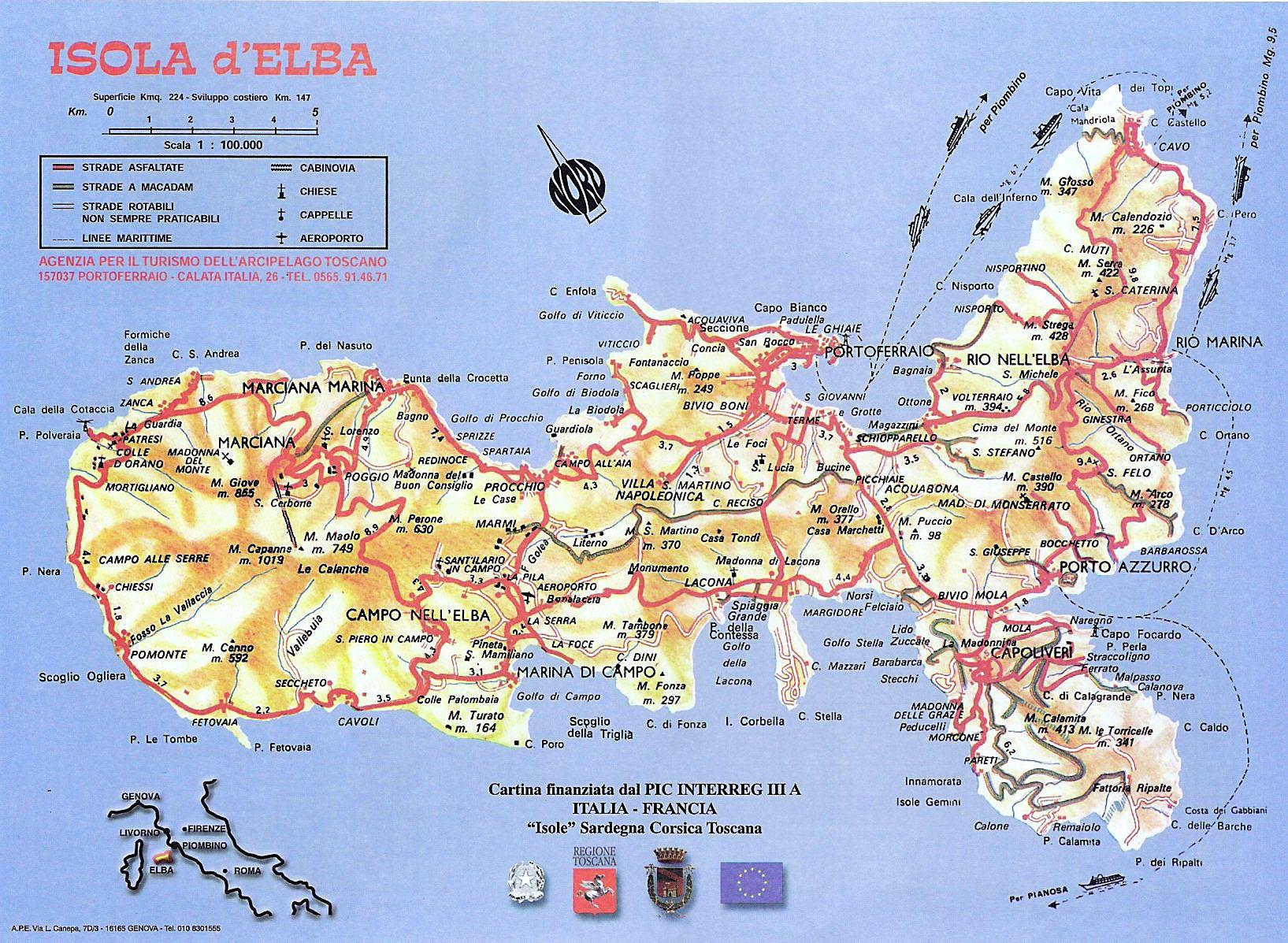 Cartina Elba Isola.Isola D Elba Cartina Stradale Isola D Elba Elba Isola