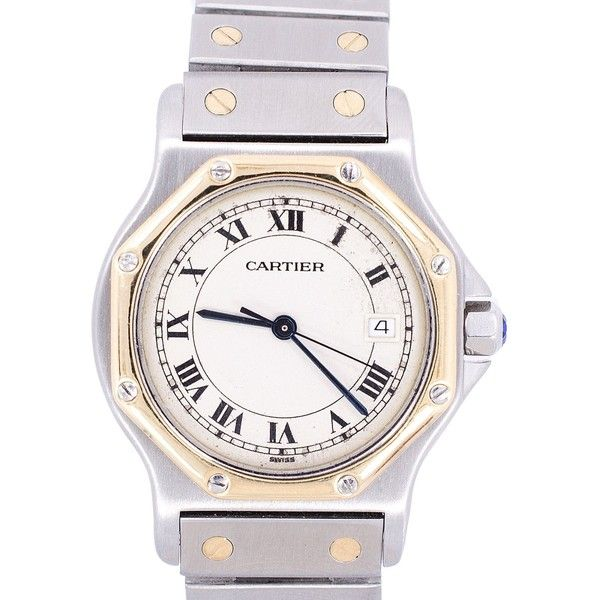 0882c596384 Pre-owned Cartier Santos 187902 18K Gold Stainless Steel Unisex 32mm...  ( 1