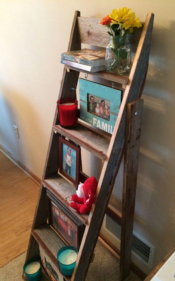 Barn Wood Ladder Shelf Wedding Picture By Prairiewoodworking
