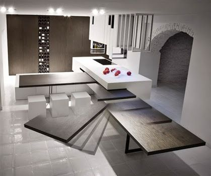 Kitchen Island With Slide Out Table Google Search Contemporary Kitchen Design Contemporary Kitchen Kitchen Concepts