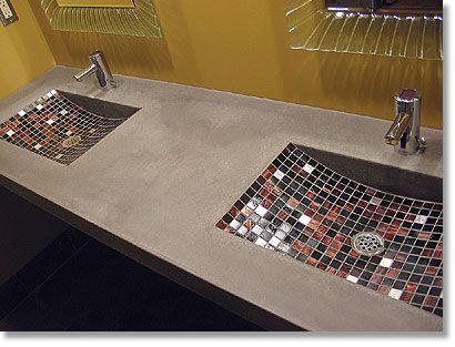 Concrete Counter Top With Diy Tile Sink Tile Inserts On Counter Diy Concrete Countertops Concrete Bathroom Diy Tile