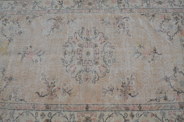 Vintage Turkish Rug Fl Oushak Cream Carpet Handmade Overdyed