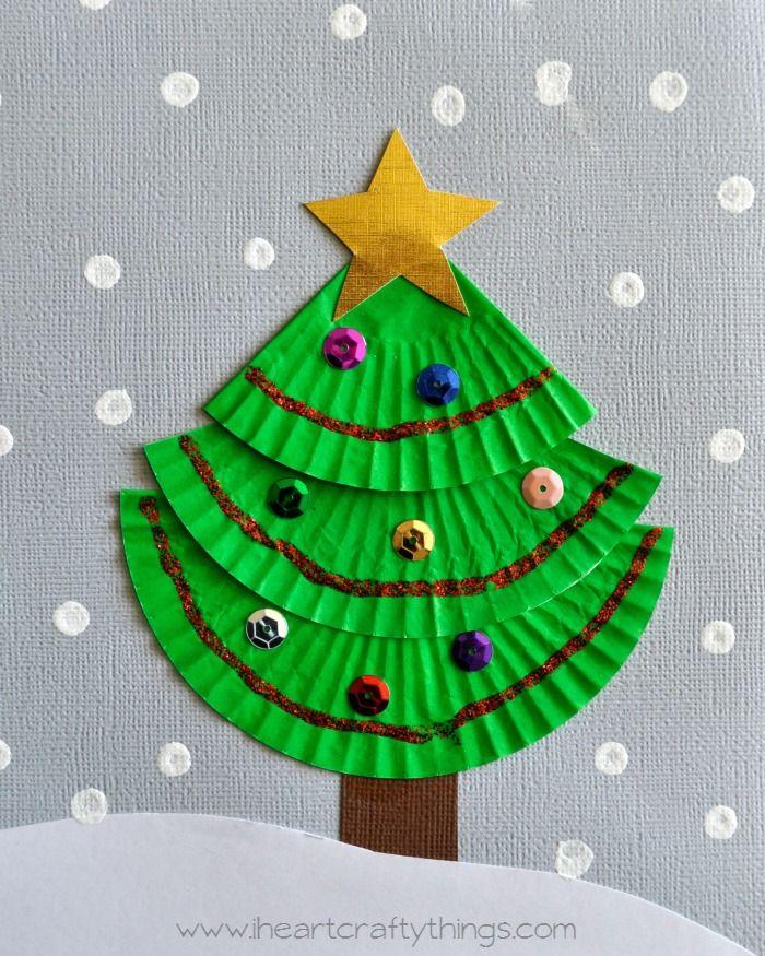 Cupcake liner christmas tree art green cups tree crafts for Christmas tree arts and crafts