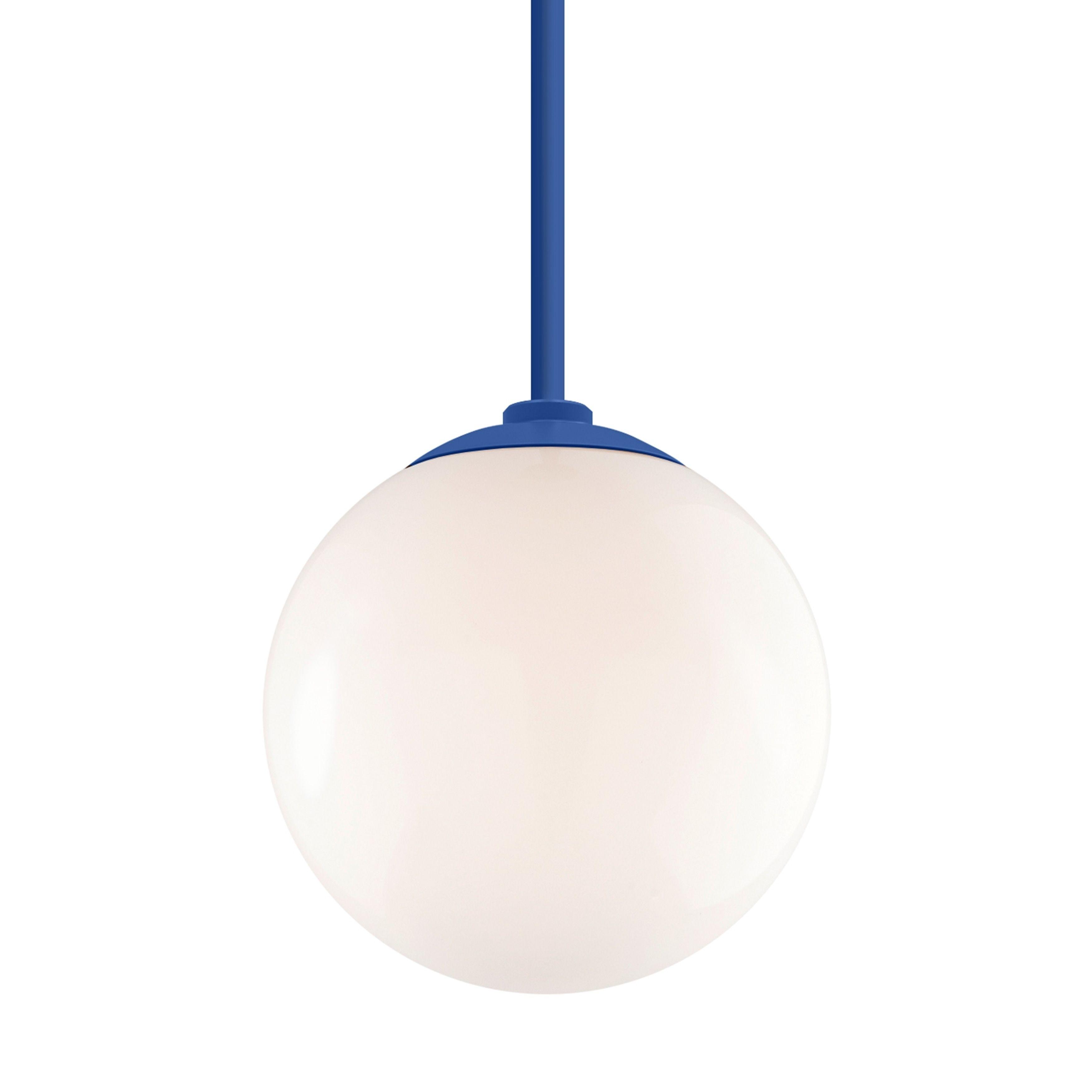 Troy Rlm Lighting Globe Blue 24 Inch Stem Pendant White 12 Inch