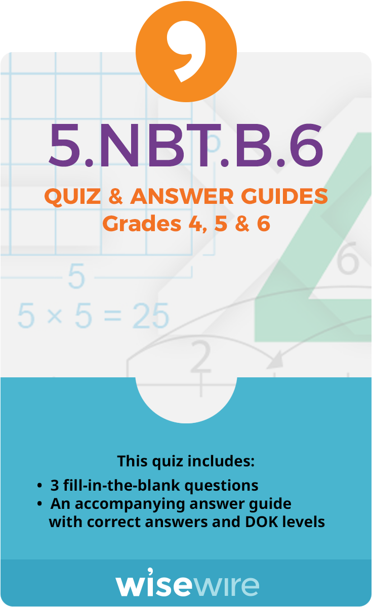 5.NBT.B.6 - Quiz and Answer Guide