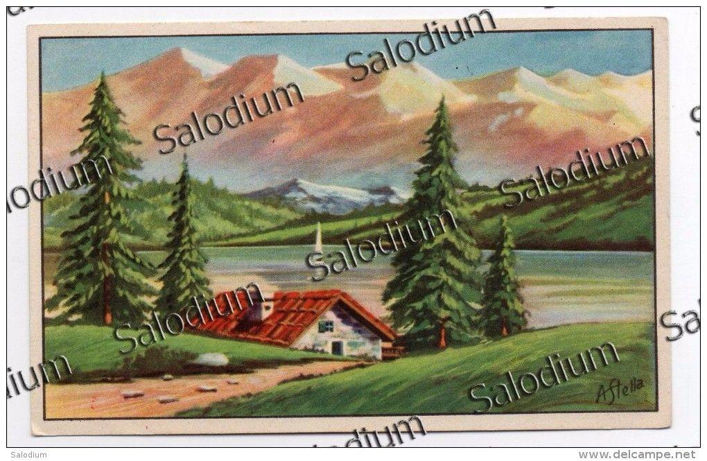 A. Stella - arte pittura illustratore - montagna baita lago