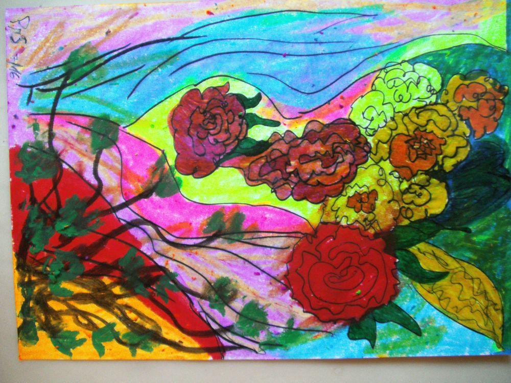 gem lde blumen gem lde vernissage rosen im garten modern art pinterest gem lde. Black Bedroom Furniture Sets. Home Design Ideas