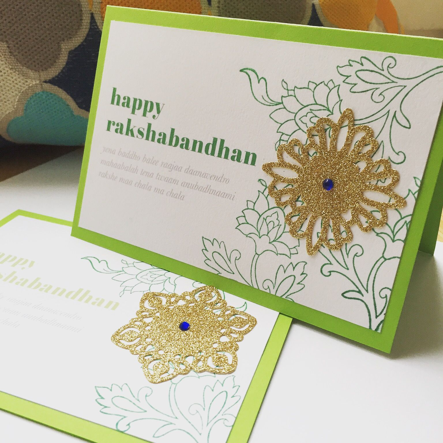 Handmade raksha bandhan greeting cards floral hand stamped cards hand stamped persian florals with gold die cut mandala pattern discovering new and modern techniques with our new raksha bandhan cards kristyandbryce Image collections