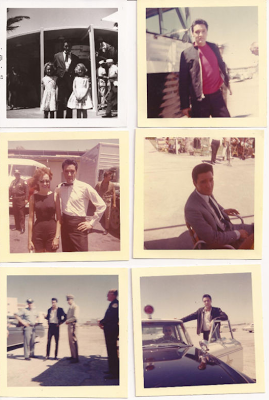 "Rare VIVA LAS VEGAS on Set - Set of snapshots of Elvis taken outside the Flamingo Hotel, July 1963. Sold for $2,605.55 on eBay. Seller's description: Originates from the John Dessel collection. Mr. Dessell moved to Las Vegas in 1952 and was Chief of Security for the ""Last Frontier Casino"" whose property was also home to the famed ""Silver Slipper""...He died in 1971. Mr Dessell took these photos himself and all originate from his personal collection."