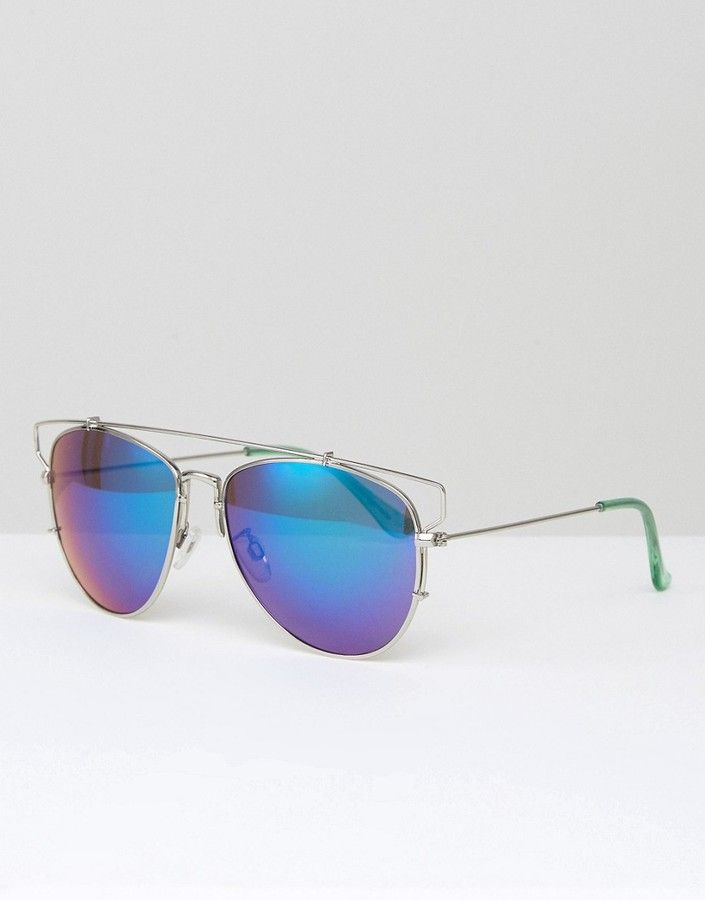 South Beach Southbeach Aviator Sunglasses with Flash Lens and Metal ...