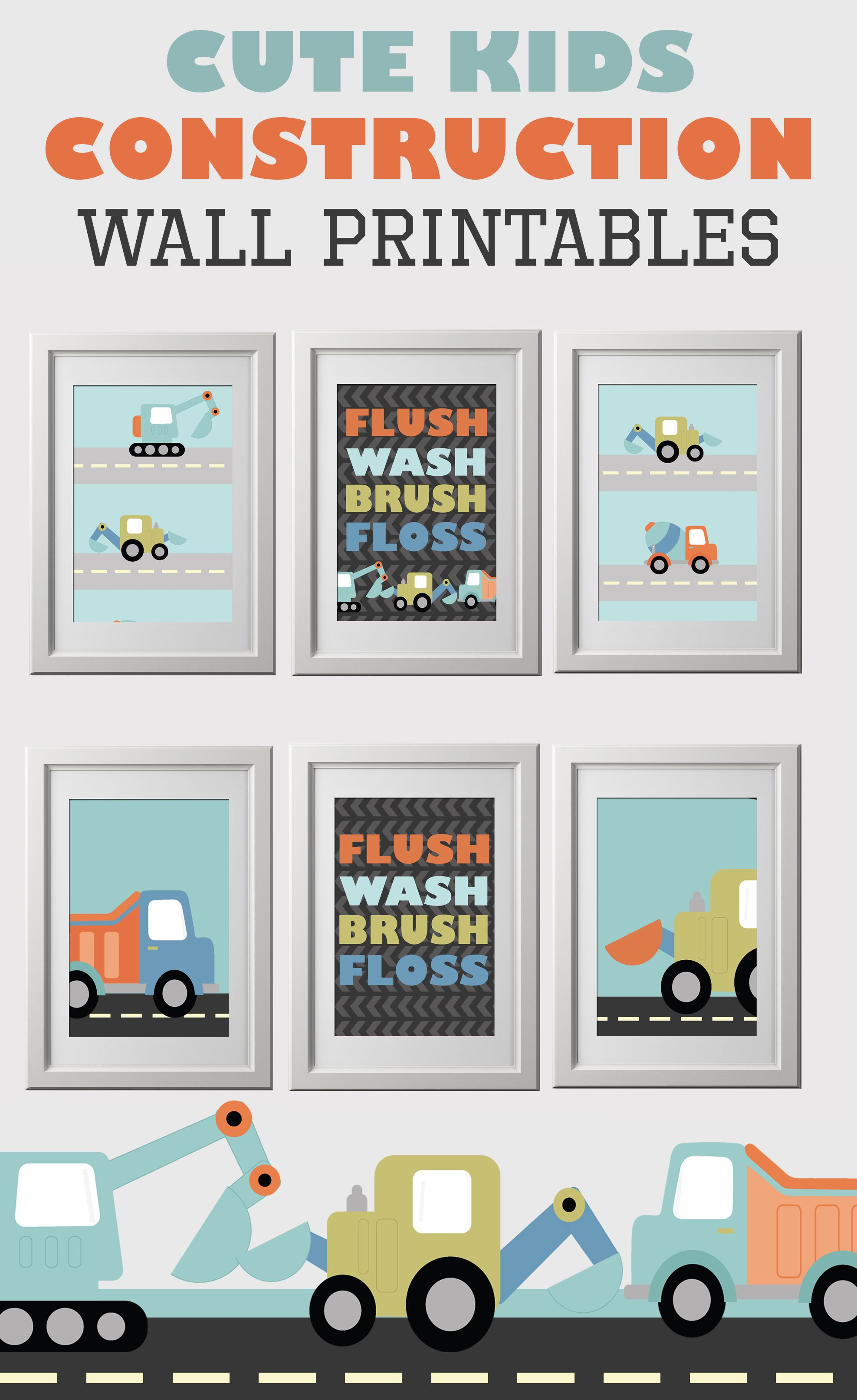 Construction Kids Bathroom Free Wall Art Printable Colorful Is