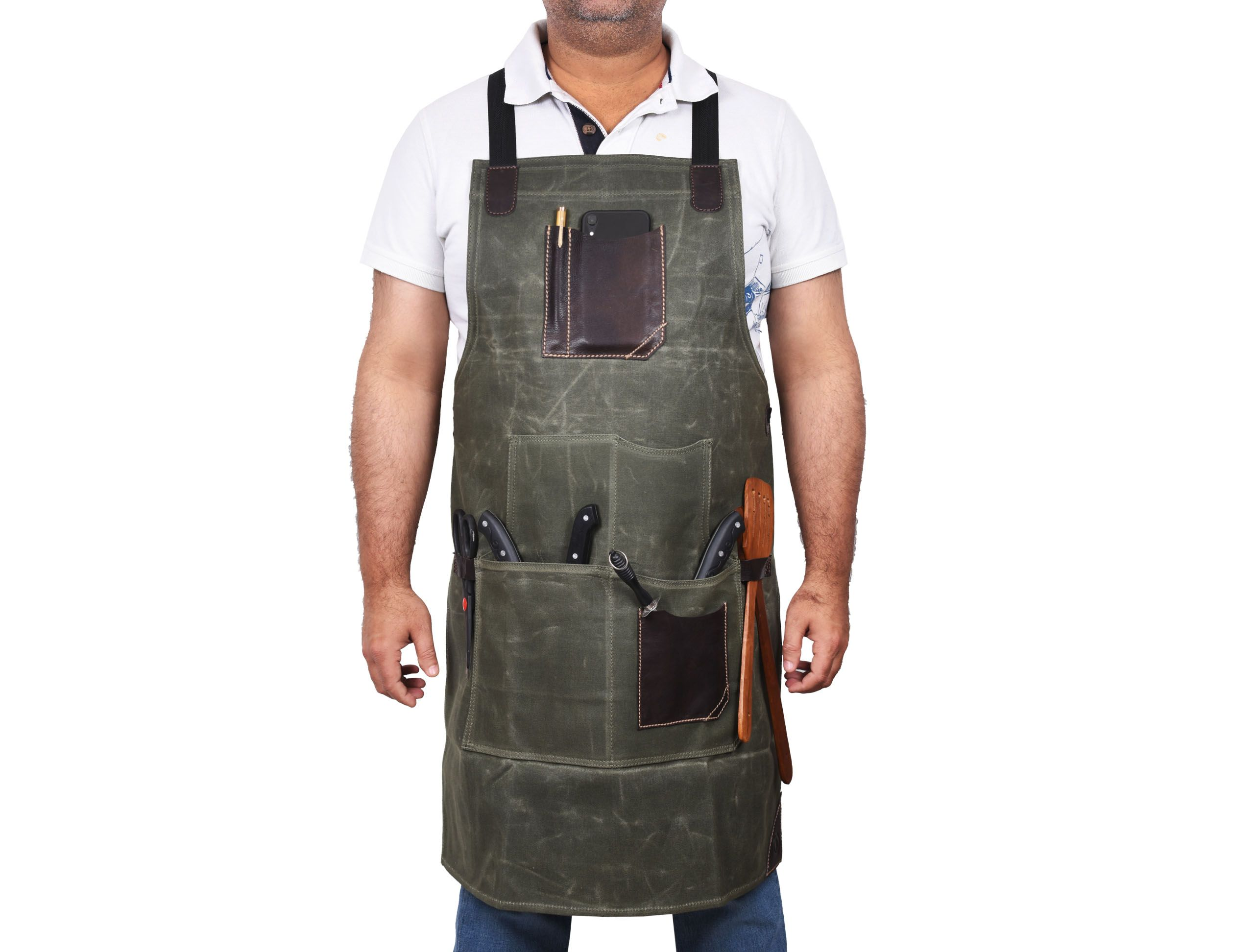 Turin Waxed Canvas Apron Distressed Green