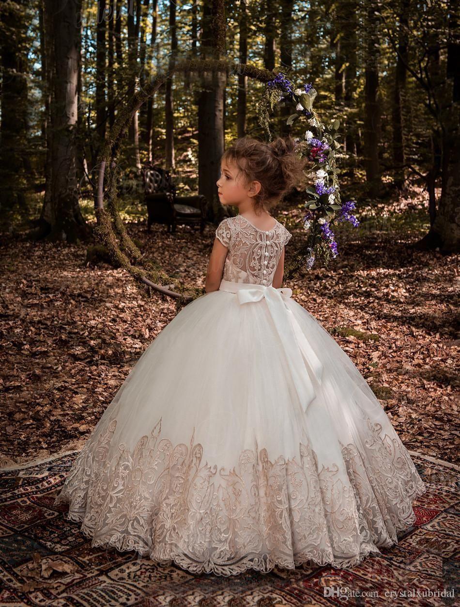 flower girls dresses for weddings jewel neck cap sleeves