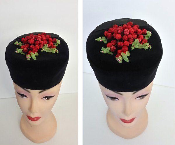 93d5de8087e Vintage black velvet pillbox hat silk cranberry floral top applique   Unbranded  Pillbox