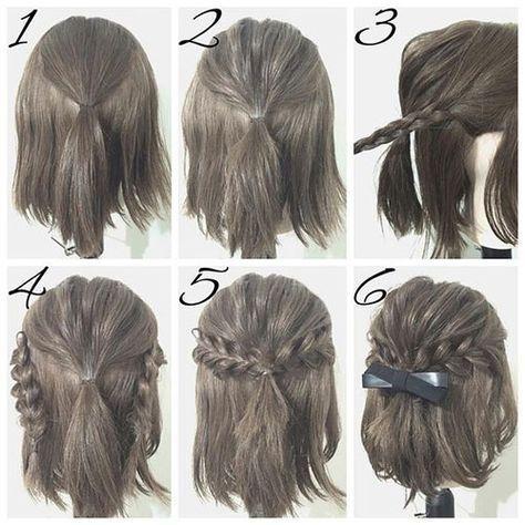 Half Up Hairstyle Tutorials for Short Hair, Hacks, Tutorials   Easy ...