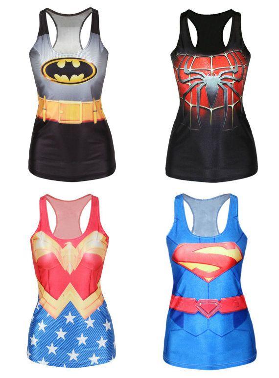 e25b8a5fb732b7 4 shirts Wonder Woman Batman Spiderman by HandpickedHandmade Disney 10k