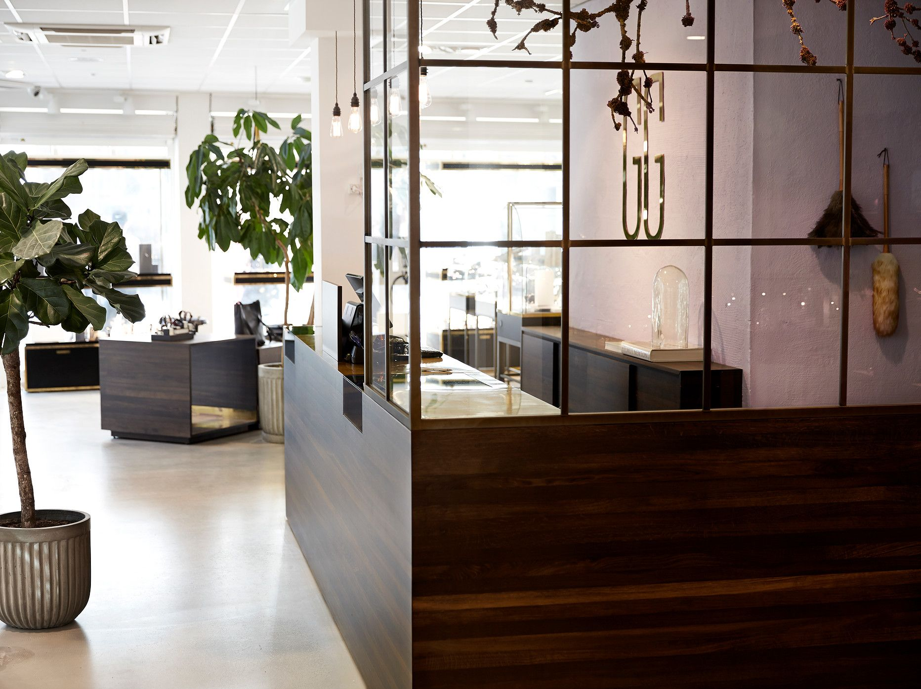 Interior design, retail, Jewelry store. Furniture design, smoked oak, glass and brass. By Anni gram.