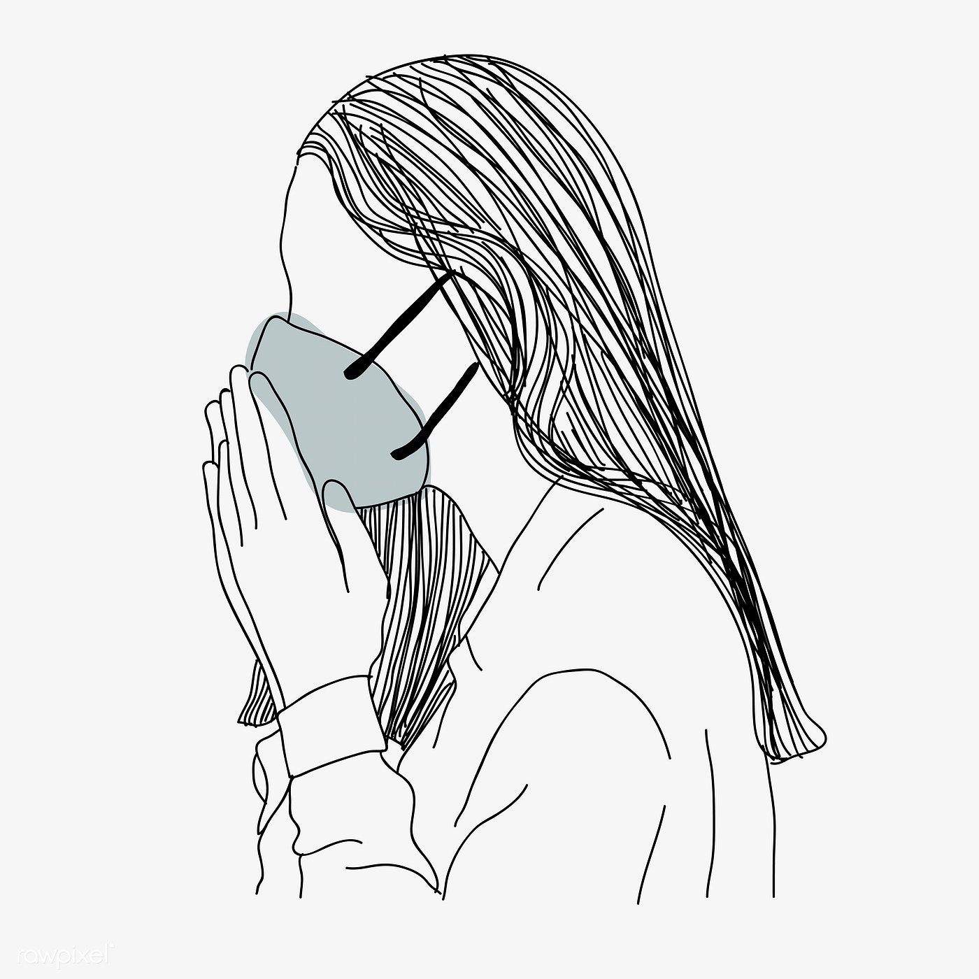 Woman Wearing Face Mask Coughing Character Element Vector Free Image By Rawpixel Com Sasi In 2020 Mask Drawing Mask Vector Free