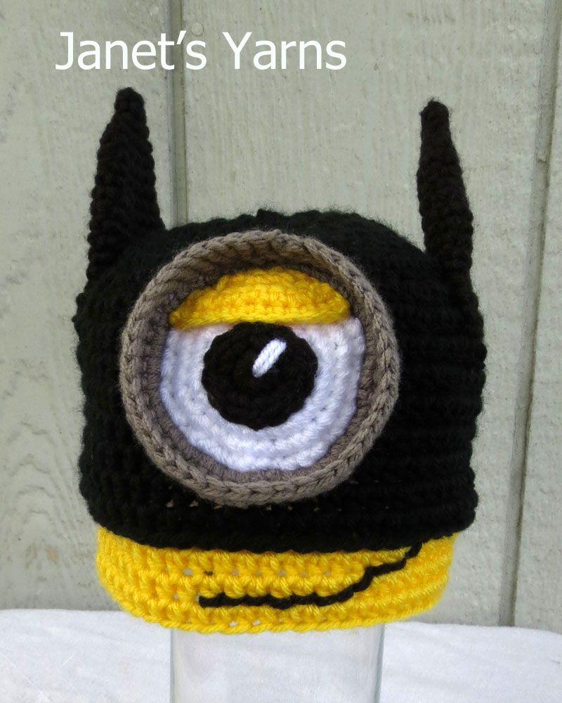 Batman Minion hat.   Hats Crochet   Pinterest
