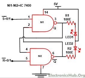 Sr flip flop design with nor gate and nand gate nand gate for Circuit nand