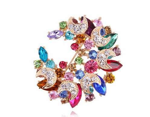 New arriva  l! Europe& Fashion SPX6552 Christmas Delicate Rhinestone Moon brooches for women Girls Gifts
