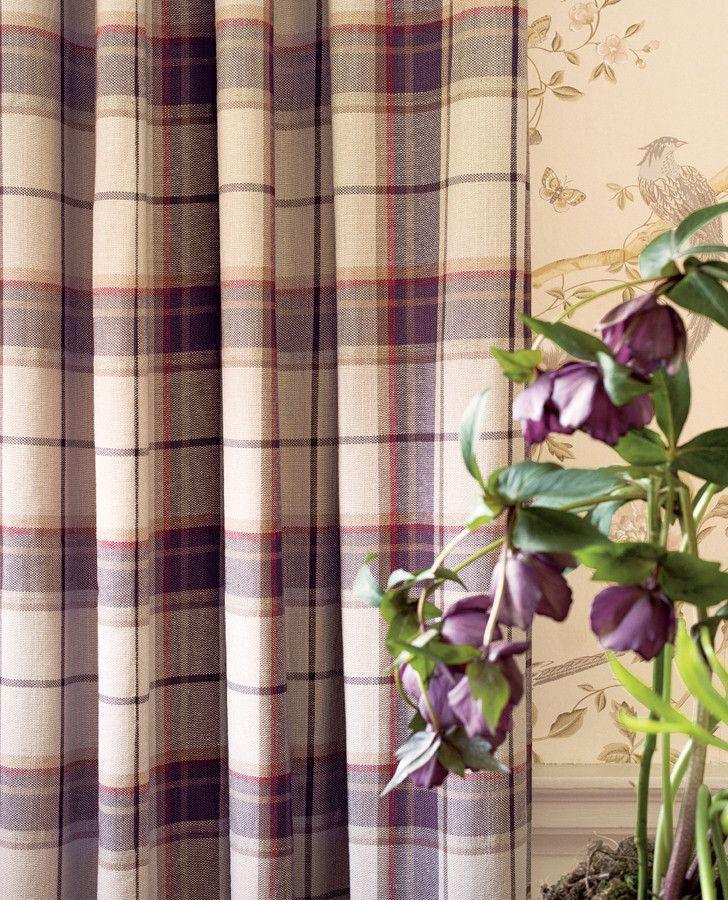 Highland Check Grape Fabric Laura Ashley Highlands And Fabrics - Laura ashley curtains purple