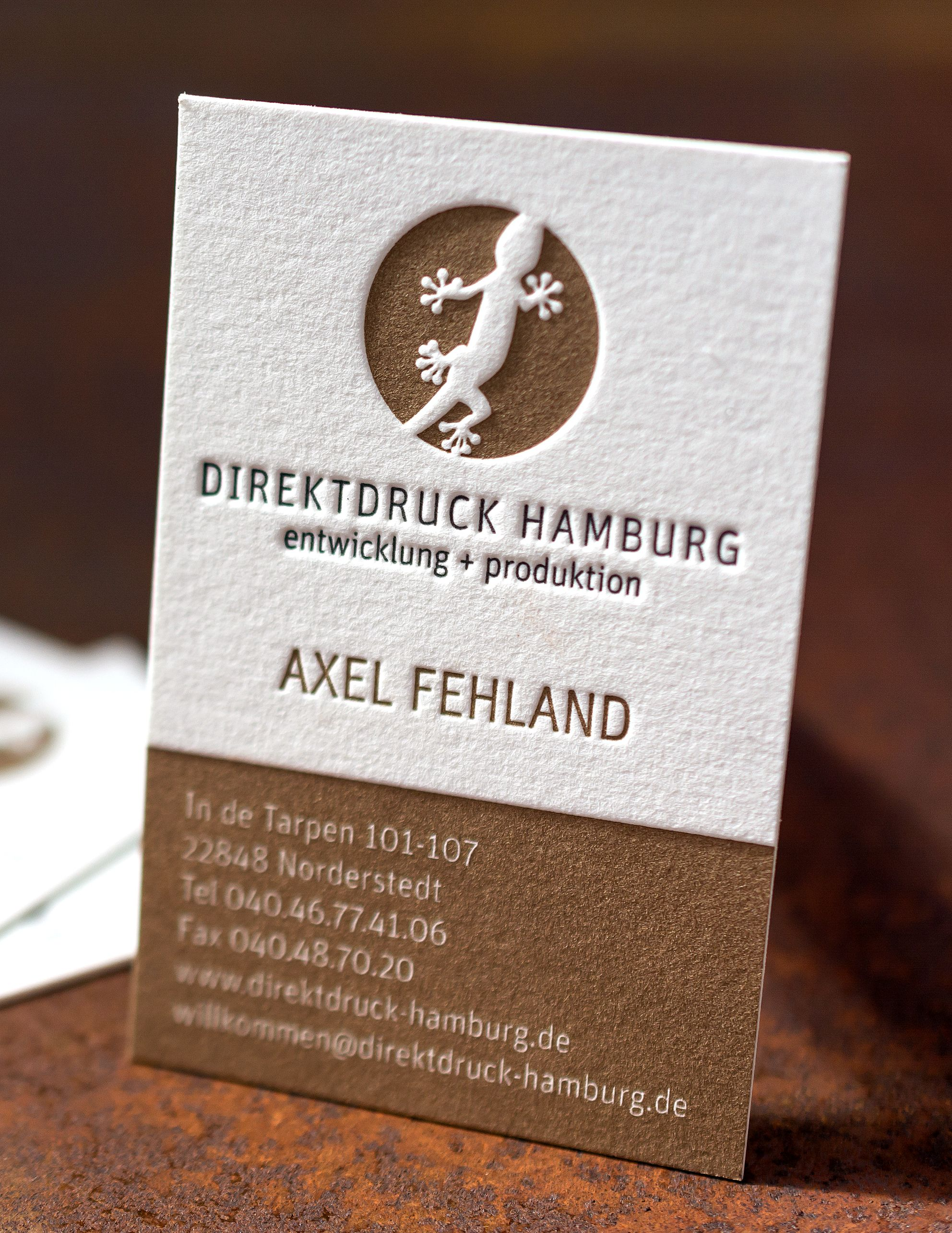 Deep Impression On This Two Colour Business Card For