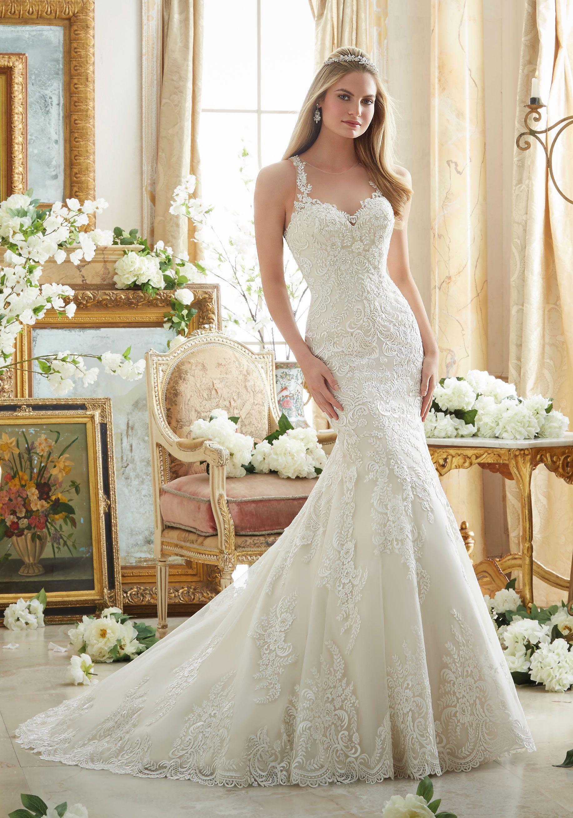 Embroidered Lace On Soft Net With Wide Hemline Wedding Dress Designed By Madeline Gardner Color Mori Lee Wedding Dress Cheap Wedding Dress Wedding Dress Sizes