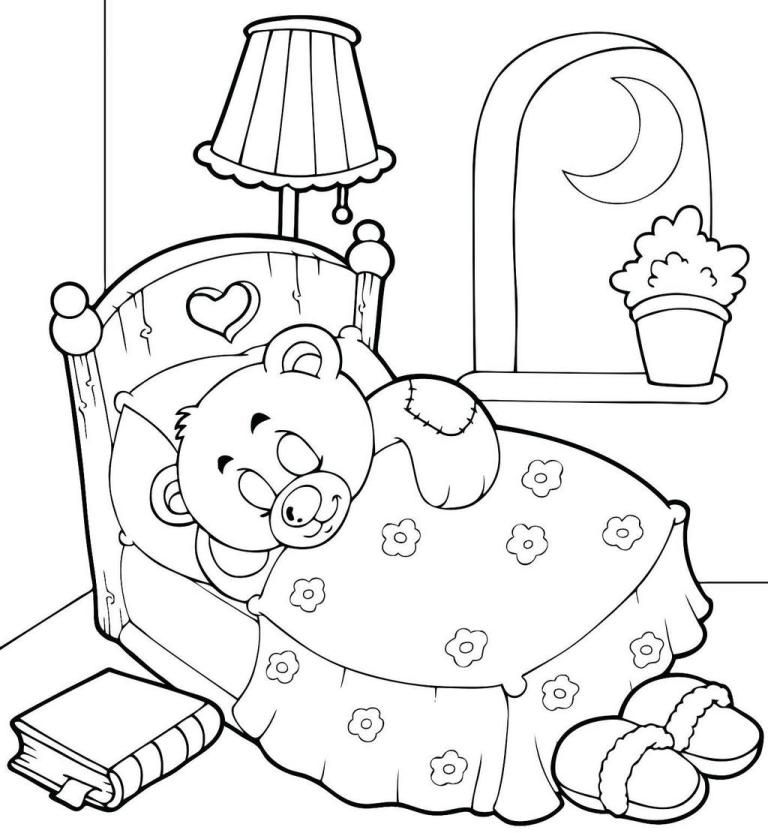 Teddy Bear Sleeping In The Beatiful Bedroom Coloring Page Bear Coloring Pages Teddy Bear Coloring Pages Coloring Books