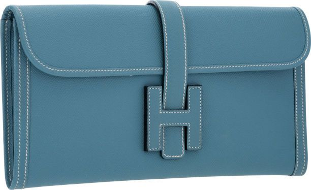 ab45b9c28ad0 Hermes Blue Jean Epsom Leather Jige Elan H Clutch Bag