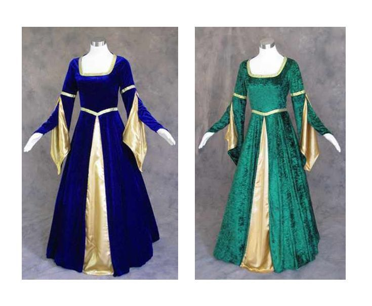 Blue Velvet Medieval Renaissance Cosplay Wench LARP Pirate Dress Costume Gown