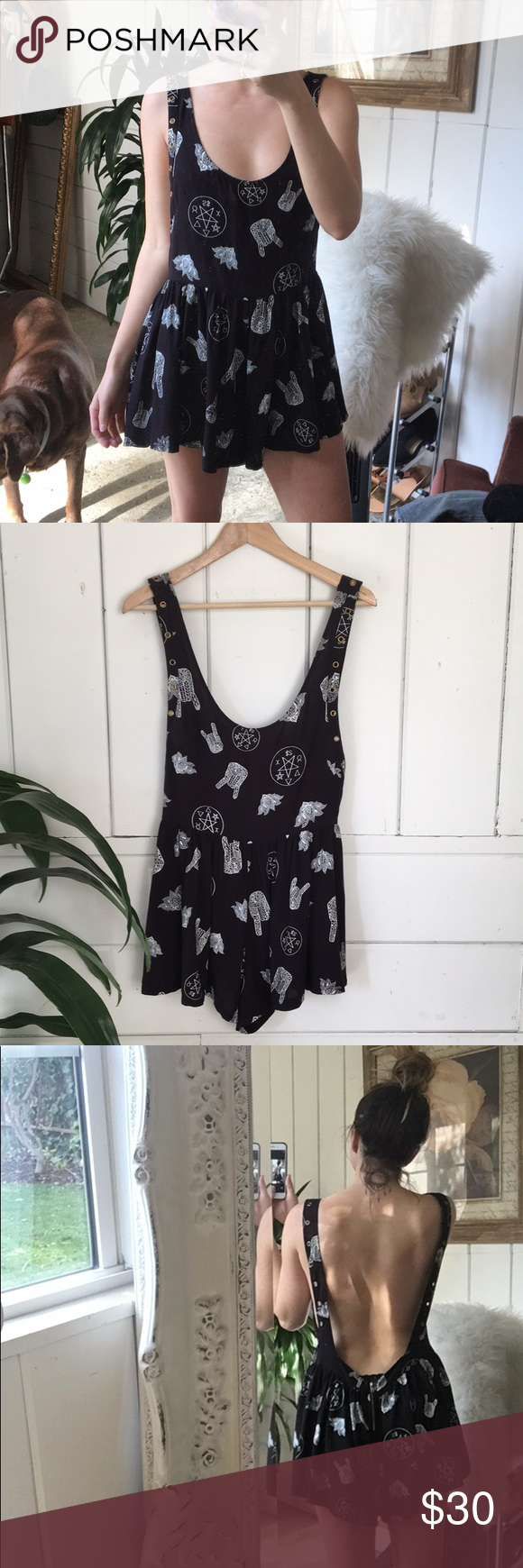 """f70912801e04 SIN Retro Boho Romper Gently used in great condition. 29"""" length 16"""" waist"""