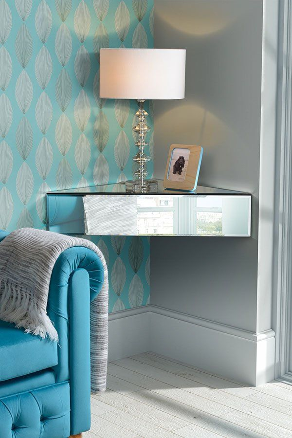 Awesome Inga Corner Mirrored Floating Bedside / Shelf / Storage System