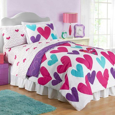 Hearts Twin Size Reversible Comforter And Sham Set Dormitorios