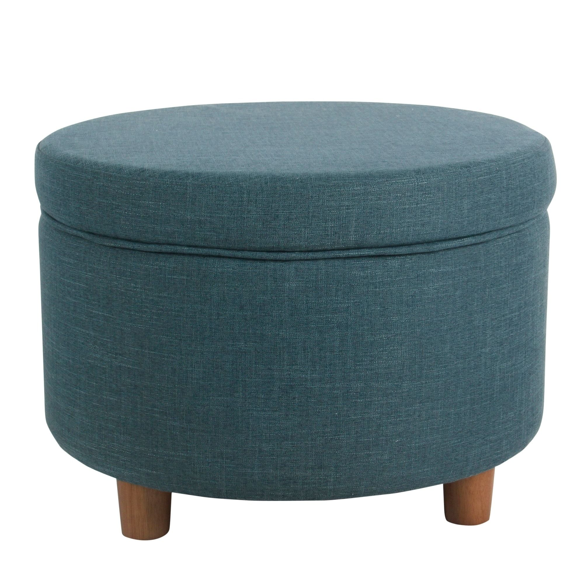 Homepop Round Storage Ottoman Teal Teal Blue Size Large