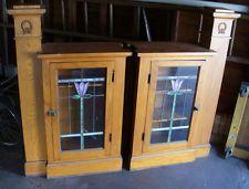 Vintage Chicago Bungalow pair Oak Wood Room Dividers w Leaded Glass Window Doors