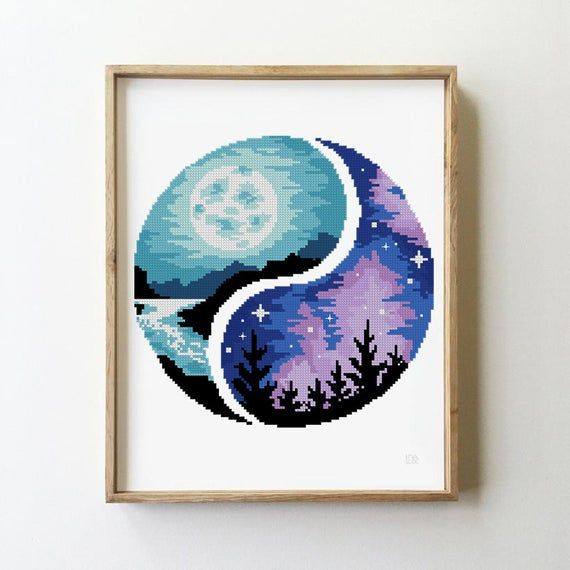 Photo of Yin yang landscape counted cross stitch pattern mountains forest nature birds moon sun – Cross Stitch Pattern (Digital Format – PDF)