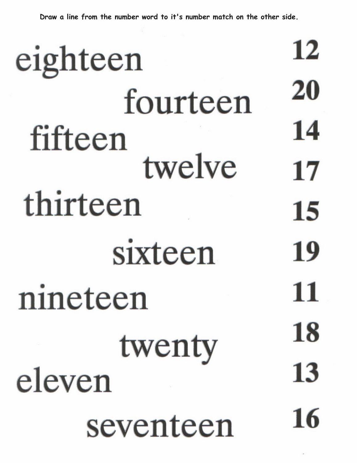 Numbers 1 20 Worksheets Match
